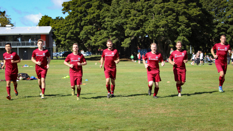 Pukekohe AFC Mens Firsts warming up