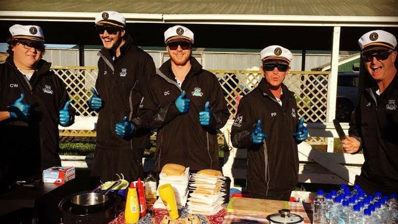 Pukekohe AFC Mens Thirds running the BBQ at First Kicks and Fun Football