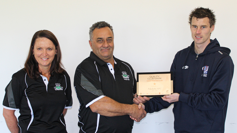 Pukekohe AFC receives the Quality Club Mark Award from NZ Football