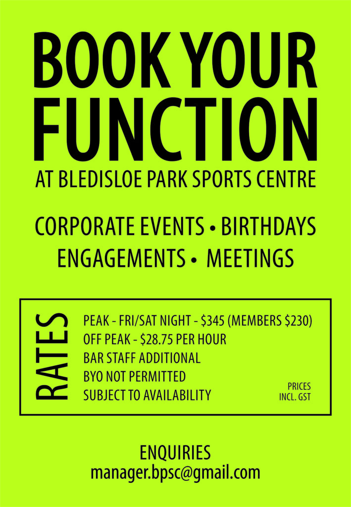 Book your Function at the Bledisloe Park Sports Centre