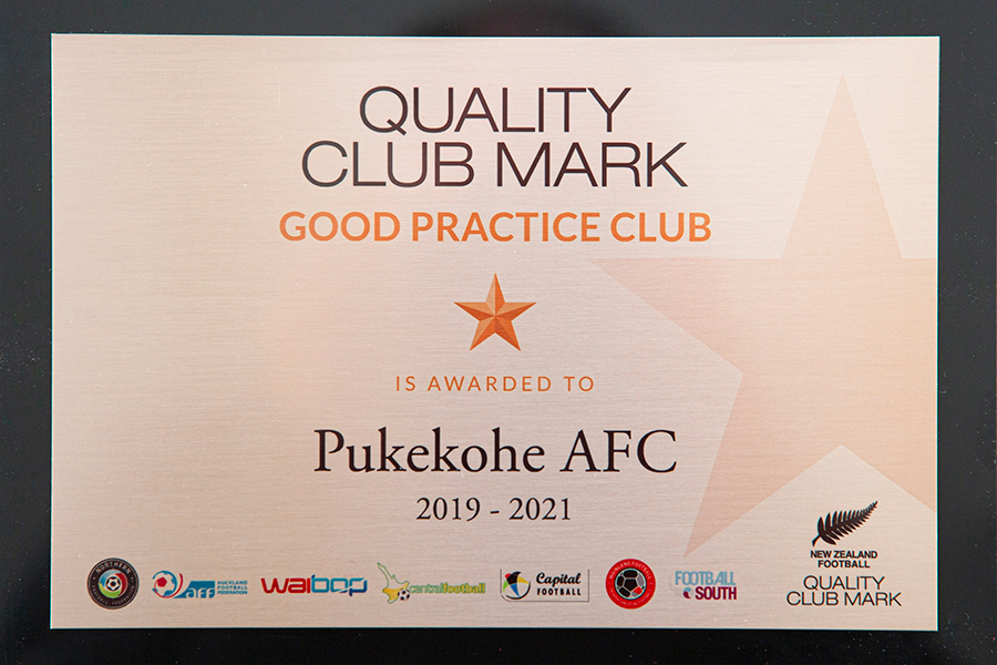 Pukekohe AFC's Quality Club Mark Award